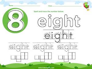 Spelling number eight worksheet