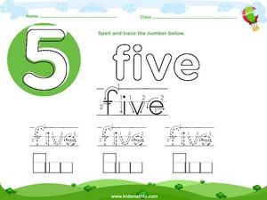 Spelling number five worksheet