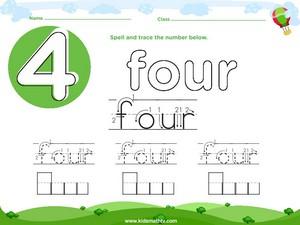 Spelling number four worksheet