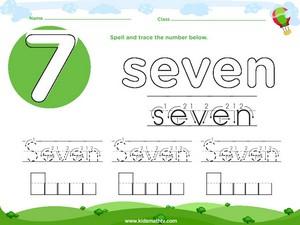 Spelling number seven worksheet