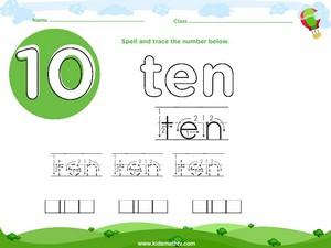 Spelling number ten worksheet