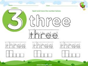 Spelling number three worksheet
