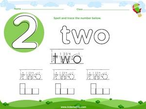 Spelling number two worksheet