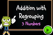 Addition with regrouping 3 numbers video