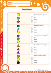 Top bottom middle positions worksheet
